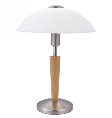 eglo 87256 solo 1 1 light touch table lamp with white shade wood antique brass ebay. Black Bedroom Furniture Sets. Home Design Ideas