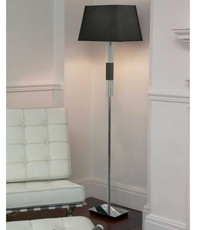 Silk Lamp Shades For Wall Lights : ENDON TARRANGO 1 Light Floor Lamp in Chrome/Crystal with Faux Silk Shade eBay