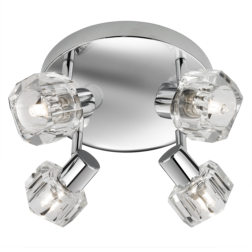 Triton 4 light chrome clear glass ceiling light ebay - Clear glass ceiling light ...